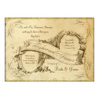 Tea Stained Vintage Wedding 1 - Rehearsal Dinner 13 Cm X 18 Cm Invitation Card