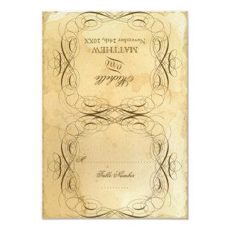 Tea Stained Vintage Wedding 1 - RSVP Response Card 9 Cm X 13 Cm Invitation Card