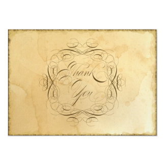 Tea Stained Vintage Wedding 1 - Thank You Notes Card