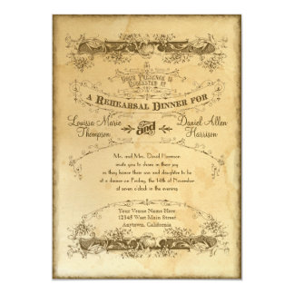 Tea Stained Vintage Wedding 2 -Rehearsal Dinner Card