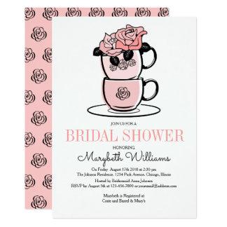Tea Teacup Flowers Bridal Shower Invitation Card