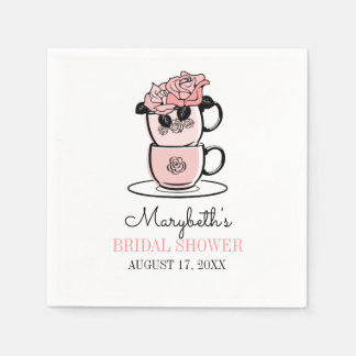 Tea Teacup Flowers Bridal Shower Paper Napkin