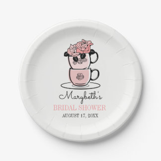Tea Teacup Flowers Bridal Shower Paper Plates