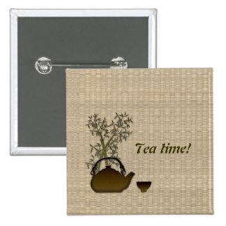 Tea time! 15 cm square badge