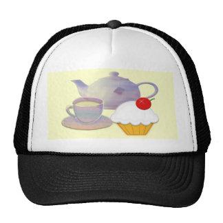 Tea time and cherry cupcake art cap