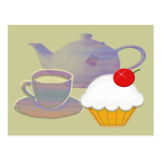 Tea time and cherry cupcake art postcard