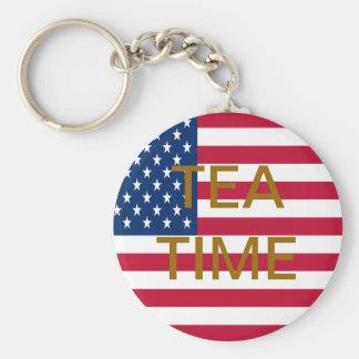 TEA TIME BASIC ROUND BUTTON KEY RING