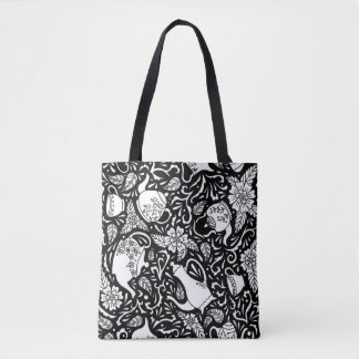 Tea Time Black and White Tote Bag
