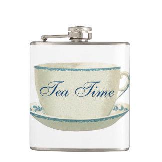 Tea Time Blue Tea Cup Hip Flask