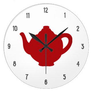 Tea Time Clock, modern red teapot Large Clock