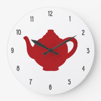 Tea Time Clock, modern red teapot Wall Clock