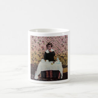 Tea Time for One Vintage Victorian Little Boy Basic White Mug