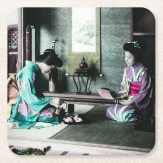 Tea Time for Two in Old Japan Vintage Geisha Square Paper Coaster