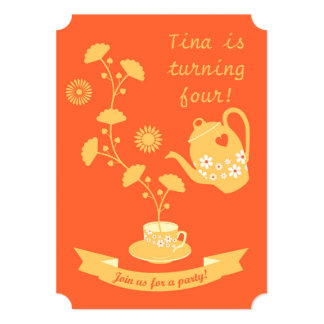 Tea Time Girl Birthday Party Invitation