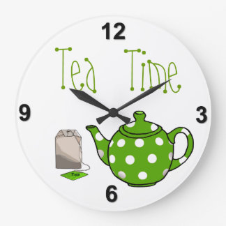 Tea Time Green & White Kitchen Wall Clocks