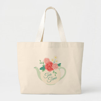 Tea Time Large Tote Bag