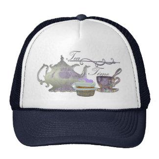 Tea Time! Lilac Teapot, Teacup and Cupcake Art Cap