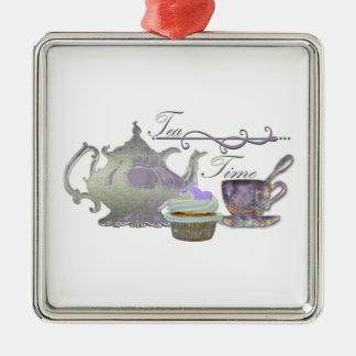 Tea Time! Lilac Teapot, Teacup and Cupcake Art Metal Ornament