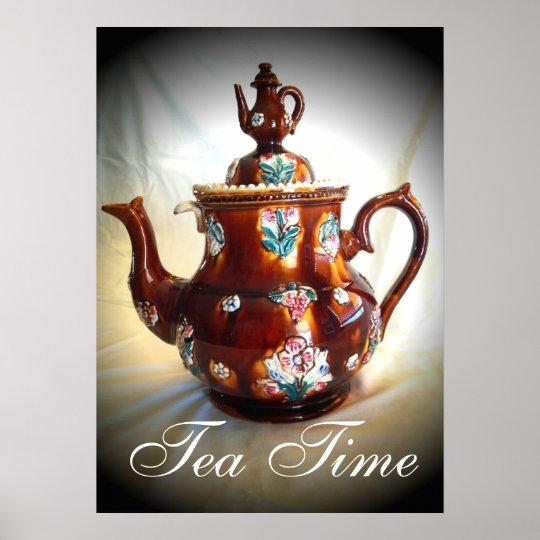 tea time old antique english teapot poster. Black Bedroom Furniture Sets. Home Design Ideas