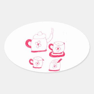 Tea Time Oval Sticker