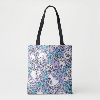 Tea Time Purple Tote Bag