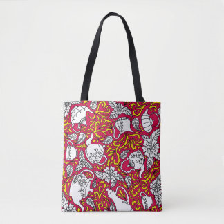 Tea Time Red Tote Bag