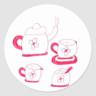 Tea Time Round Stickers