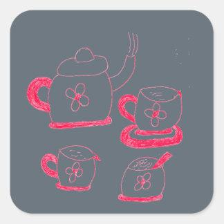 Tea Time Square Sticker
