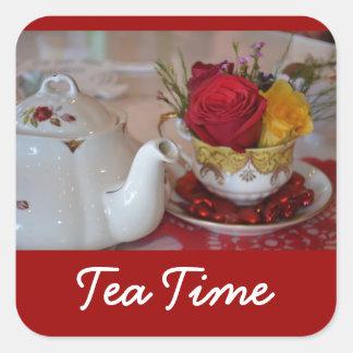 Tea Time Stickers - Square