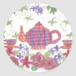 Tea Time Teapot and Flowers Round Sticker