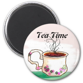 Tea Time - Time for that Cup of Tea 6 Cm Round Magnet