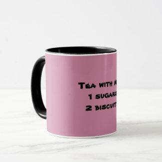 Tea with milk, 1 sugar, 2 biscuits mug