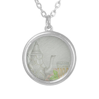 tea with mint silver plated necklace