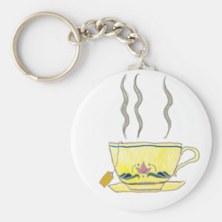 teabag in a teacup basic round button key ring