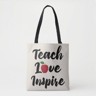 Teach Love Inspire Apple School Teacher Quote Tan Tote Bag