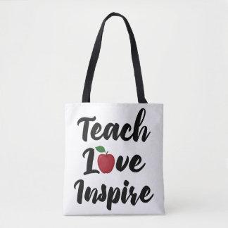 Teach Love Inspire Apple School Teacher Quote Tote Bag