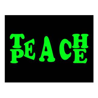 Teach Peace In Light Green Font Postcard