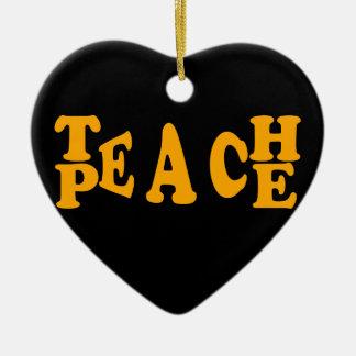Teach Peace In Orange Font Ceramic Heart Decoration