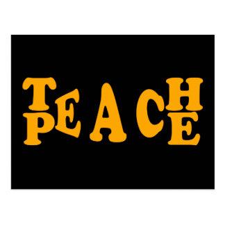 Teach Peace In Orange Font Postcard