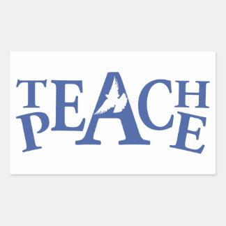 Teach peace single dove blue text labels