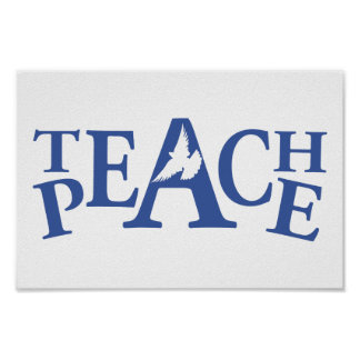 Teach peace single white dove slogan art poster