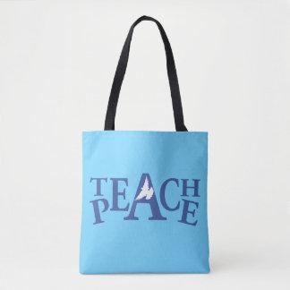 Teach peace single white dove tote bag