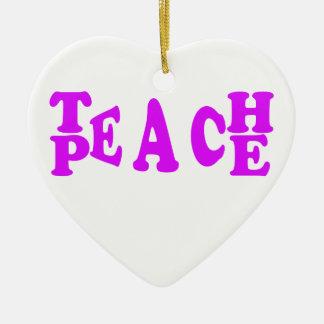 Teach Peach In Purple Font Ceramic Heart Decoration