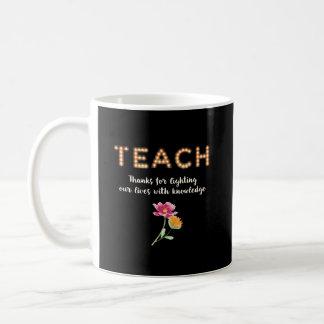 TEACH , Thanks Teacher in Lighted Marquee Letters Coffee Mug