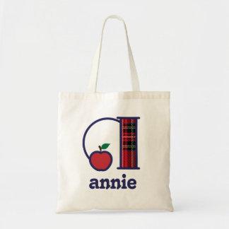 Teacher Apple Monogram Tote Bag Initial a