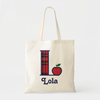 Teacher Apple Monogram Tote Bag Initial L