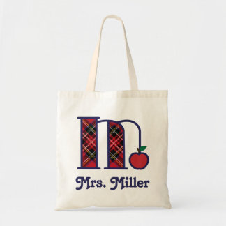 Teacher Apple Monogram Tote Bag Initial M