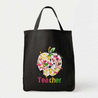 Teacher Apple Paint Splatter grocery Bag