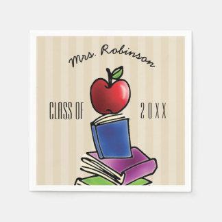 Teacher Apple with Book Stack Disposable Napkin