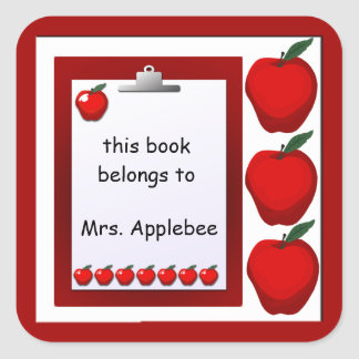 Teacher Apples Bookplate Custom Sticker